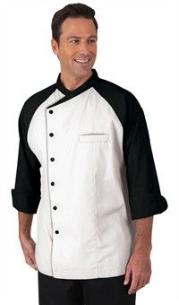 Men's Contrast Raglan 3/4 Sleeve Chef Coat - Snap Front Closure - 65/35 Poly/Cotton