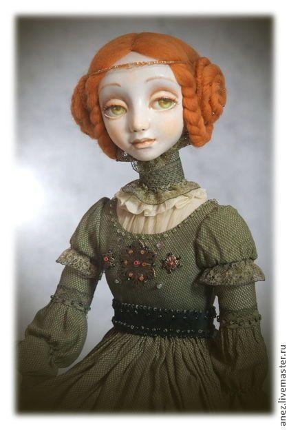 Коллекционная кукла ручной работы Оливия - оливковый,коллекционная кукла