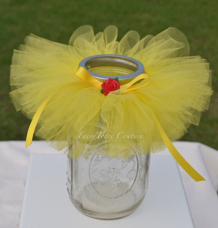 Belle Inspired Mason Jar Tutu - Beauty and the Beast Inspired Centerpiece - Belle Inspired Favor - Found at FairyTotes Couture on Etsy