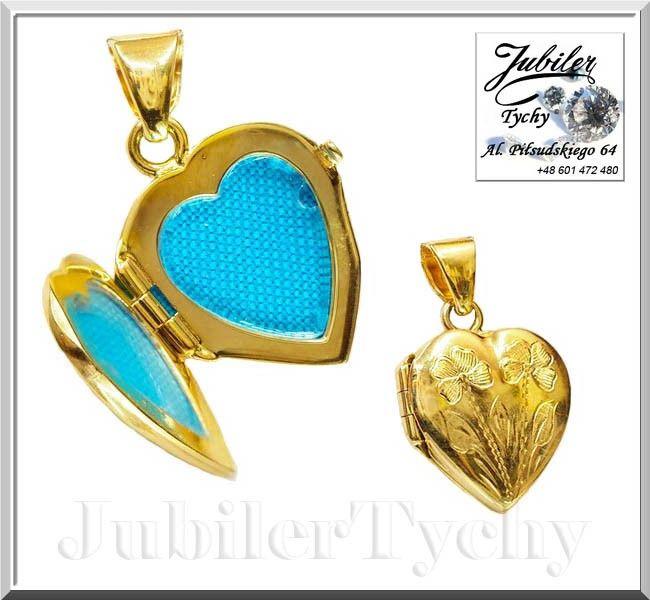 fc68bafb1d3286 Złota zawieszka Sekretnik w kształcie serca - otwierany medalion z miejscem  na dwa zdjęcia 💎🛍