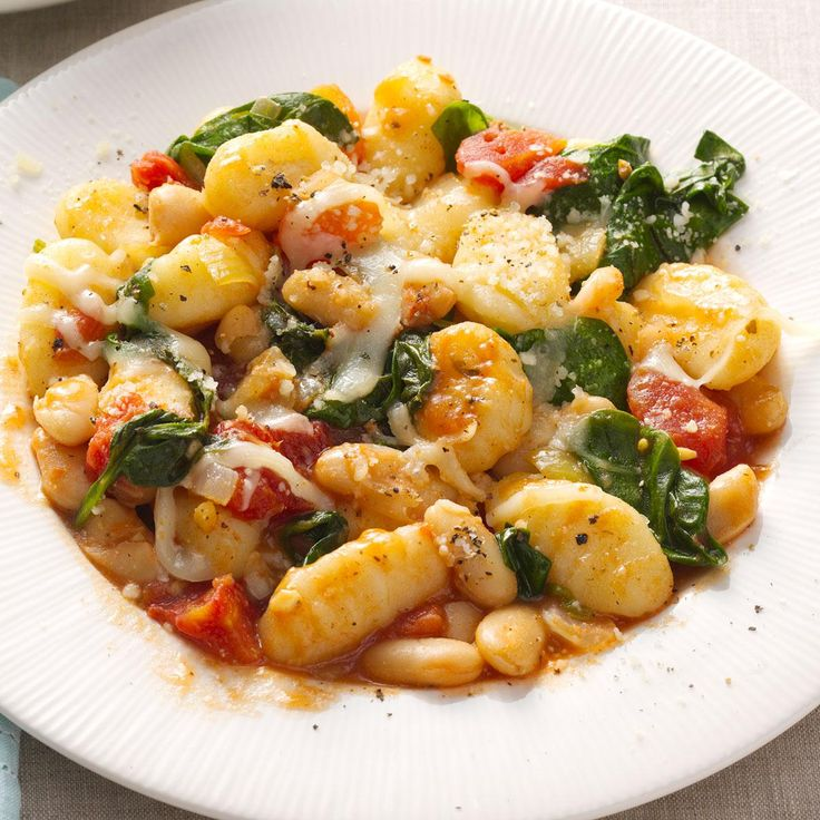 Gnocchi with White Beans Recipe -Here's one of those no-fuss recipes you can toss together and cook in one skillet. Ideal for a busy weeknight, it's also good with crumbled Italian chicken sausage if you need to please meat-lovers. —Julianne Meyers, Hinesville, Georgia