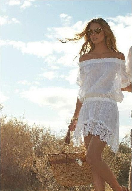 Off Shoulder Irregular Short Sleeve Short Dress