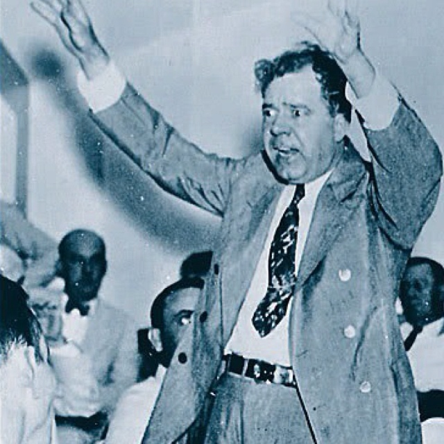 "Another colorful character in Louisiana politics... Huey Pierce Long, Jr., nicknamed The Kingfish, served as the 40th Governor of Louisiana from 1928–1932 and as a U.S. Senator from 1932 to 1935. A Democrat, he was noted for his radical populist policies. Poised to run for president on his ""Share Our Wealth"" platform, Long was assassinated in 1935 at the age of 42."