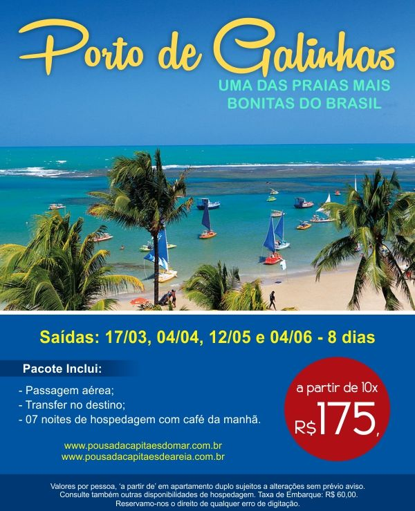 Aproveite os encantos de Porto de Galinhas com:  Passagem aérea, tranfer no destino e 7 noites de hospedagem com café da manhã.  Consulte mais informações: lalasponchiado.home@clubeturismo.com.br  #AmoViajar #CurtaoBrasil #AproveiteSuasFerias #OndeEuQueriaEstarAgora #QueDestinoeEsse #VenhaConhecer