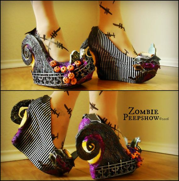 "Sculpted Hill ""Nightmare"" Cemetery Halloween Wedges inspired by The nightmare before Christmas."