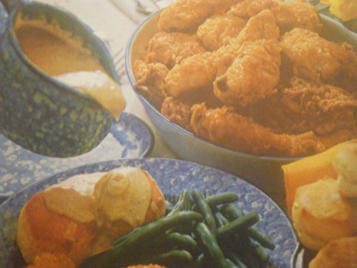 Sunday At Grandma's House, Fried Chicken, Cream Gravy, Fluffy Mashed Potatoes And Green Beans