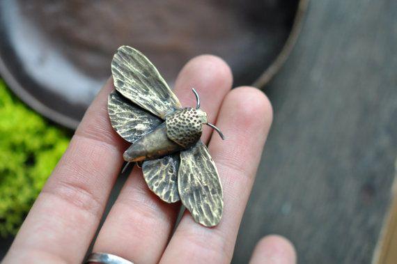 Brass Moth Brooch by OebelandTharpe on Etsy