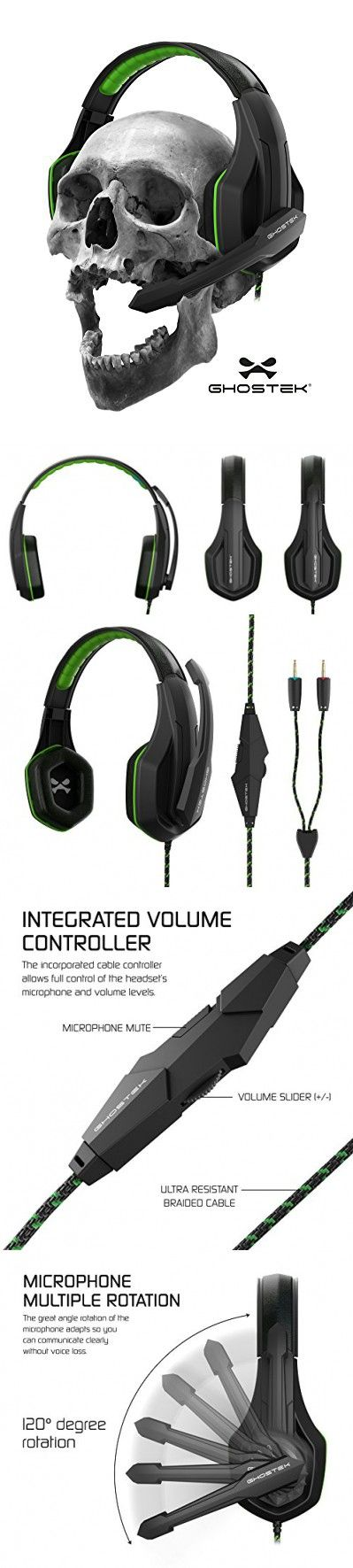 Ghostek Hero Series Gaming Headphones Over-Ear | 3.5MM Jack | PC Video Gaming |120° Microphone Rotation + Mute Switch | Integrated Volume Control | Ultra Resistant Braided Cable (Green)