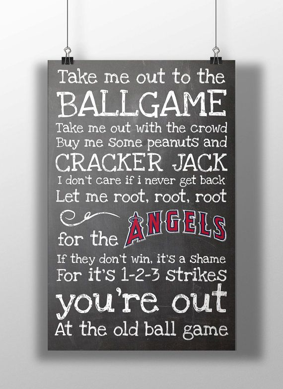 Los Angeles Angels- Take Me Out to the Ballgame Chalkboard Print on Etsy, $12.00