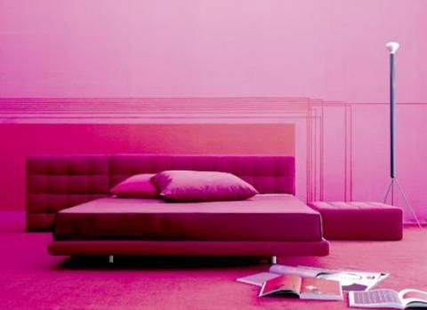 This room follows a monochromatic color scheme perfectly. There are different shades of pink. Light to dark. There is no other color that is out of place here.