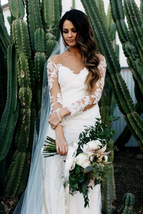cacti wedding dress off the shoulder lace long sleeves