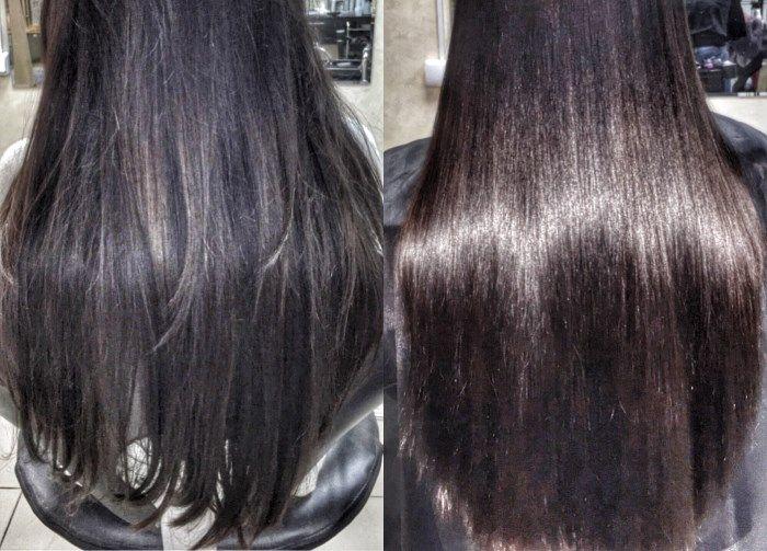 Выпрямление волос кератином: фото до и после процедуры
