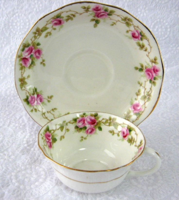Cup And Saucer AynsleyEngland Rosebuds 1890-1894 Late Victorian Teacup – Antiques And Teacups