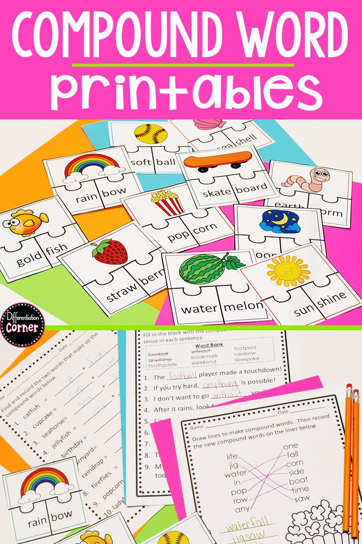 Are You You Teaching Compound Words To Your First Or 2nd Grade Students They Will Love The Compound Words Worksheets Compound Words Compound Words Printables