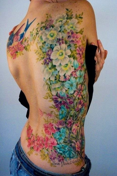 Floral side tattoo, color tattoo. Alicia this made me think of u!
