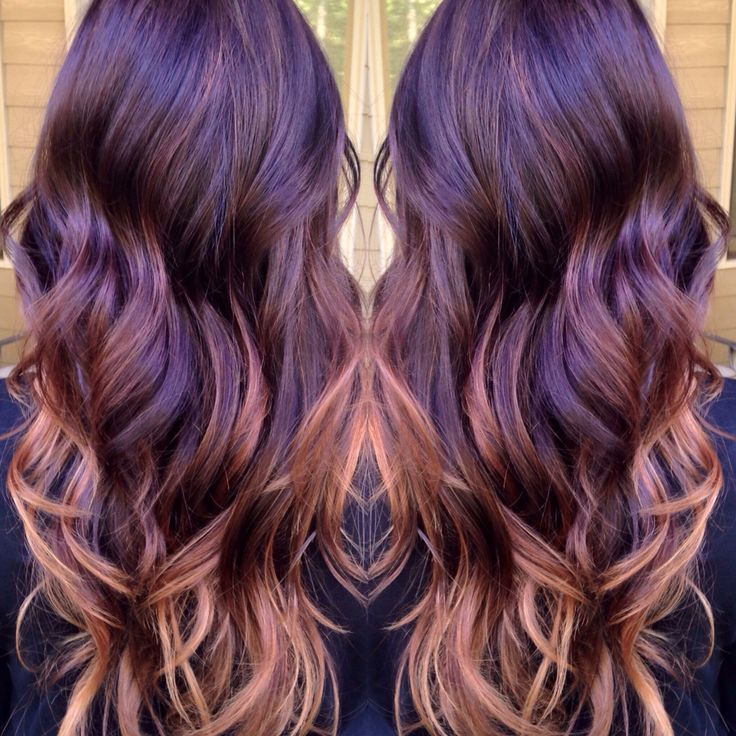 Red violet to blonde balyage
