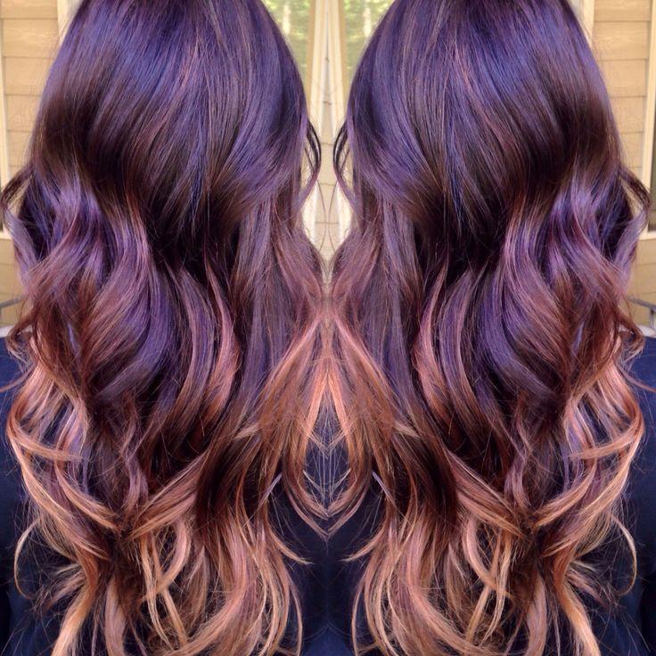 Red violet to blonde balyage