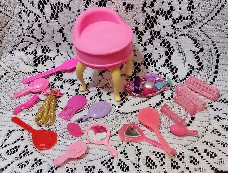 Barbie Vanity and Beauty Supplies Lot Brushes Mirror Hair Fair Piece Vintage   #Assorted