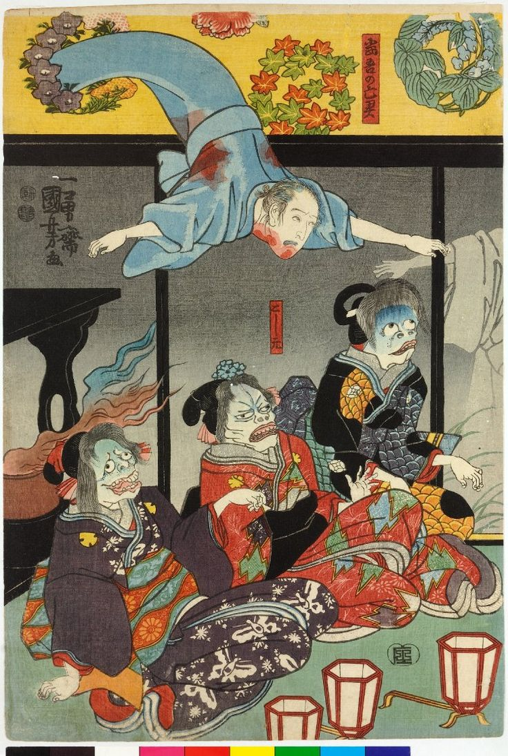 Utagawa Kuniyoshi (歌川国芳) - Woodblock triptych print, oban tate-e. Orikoshi Masatomo (centre) (played by Bando Hikosaburo IV) is attacked by the ghost of Asakura Togo (played by Ichikawa Kodanji IV), who appears on all three sheets. (Left)