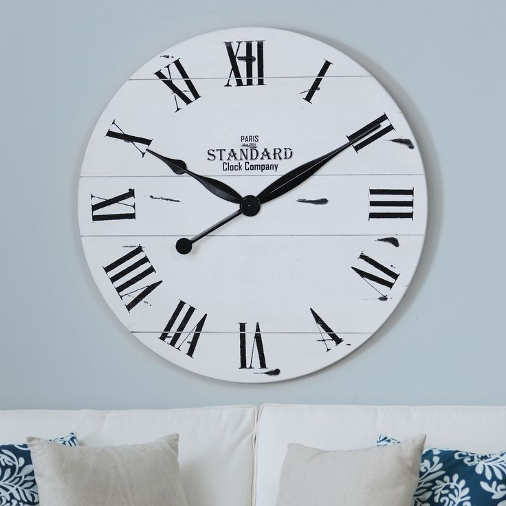 a large wall clock is never a bad decor idea try our jacob white wood