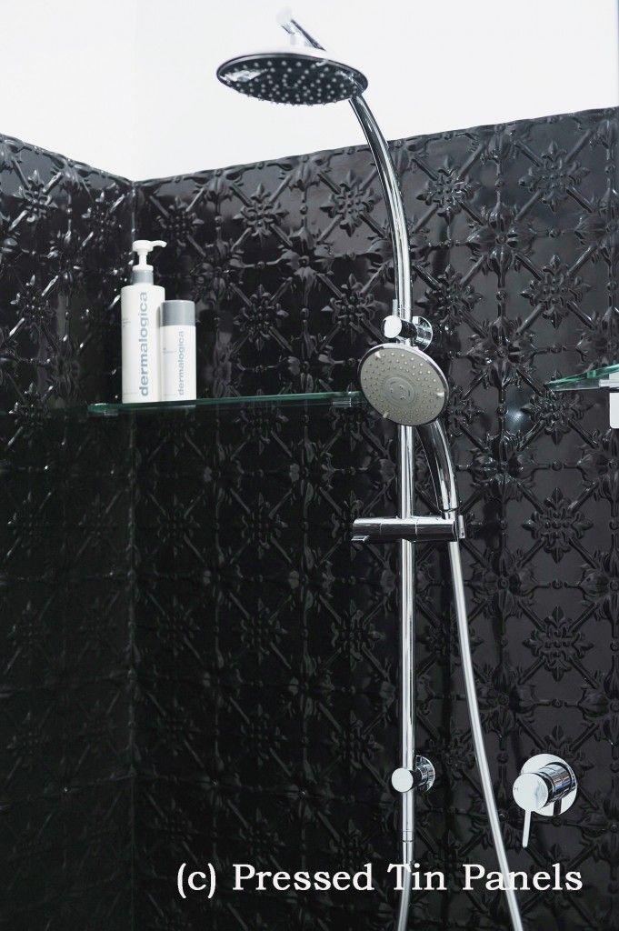 Pressed Tin Panels Original Design installed Example Shower Recess, Bathroom, Black Gloss Powder Coat