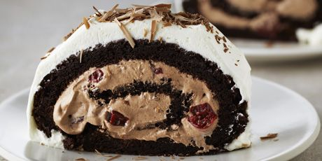 Flourless Black Forest Roulade - can be made as just a cake too, and without the cherries. Absolutely delicious!