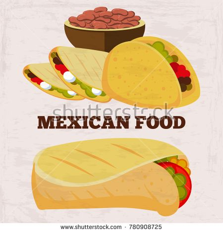 Stock Vector: Popular mexican food burito and dinner on grunge background. Mexican dinner and lunch, spicy and burrito. Vector illustration -