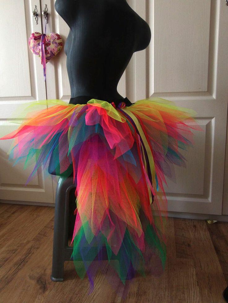 Ladies  bustle TUTU Carnival 8-14 NEON MULTi  festival SKIRT RAINBOW  FAIRY