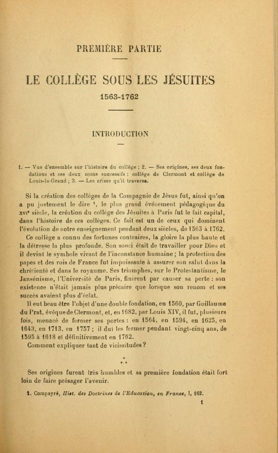 Du College de Clermont au Lycée Louis-le-Grand, 1563-1920; la vie quotidienne d'un college parisien pendant plus de trois cent cinquante ans (1921) ~ volume 1