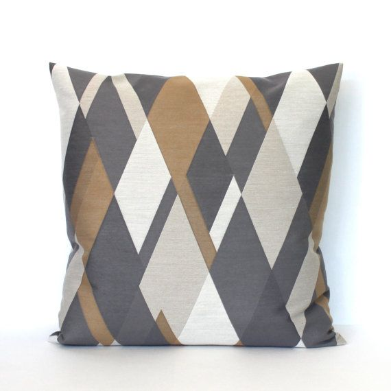 grey brown pillows geometric diamonds throw pillow cover decorative pillows euro