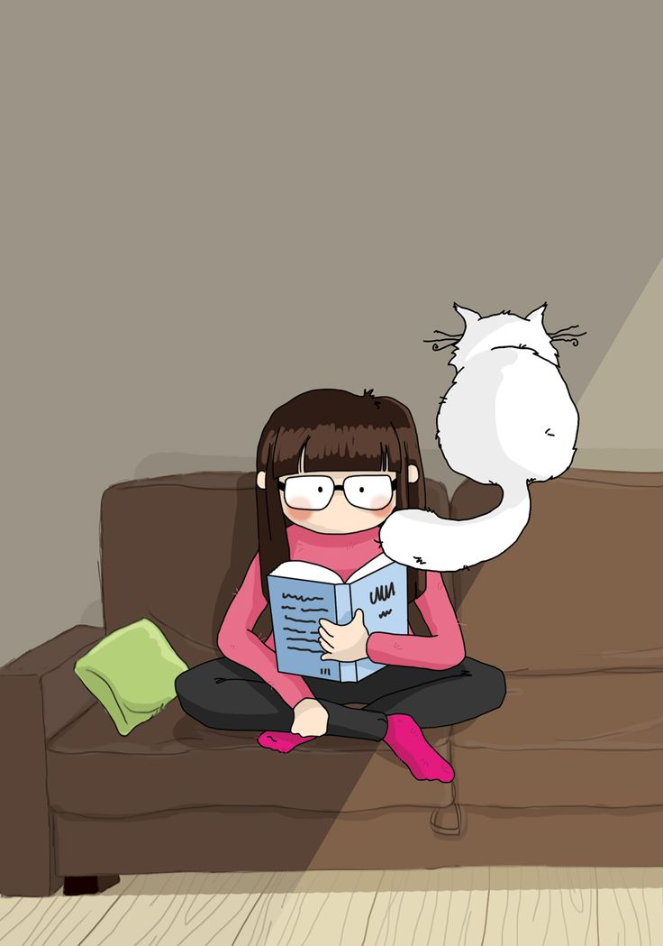 lire avec son chat / reading with a cat