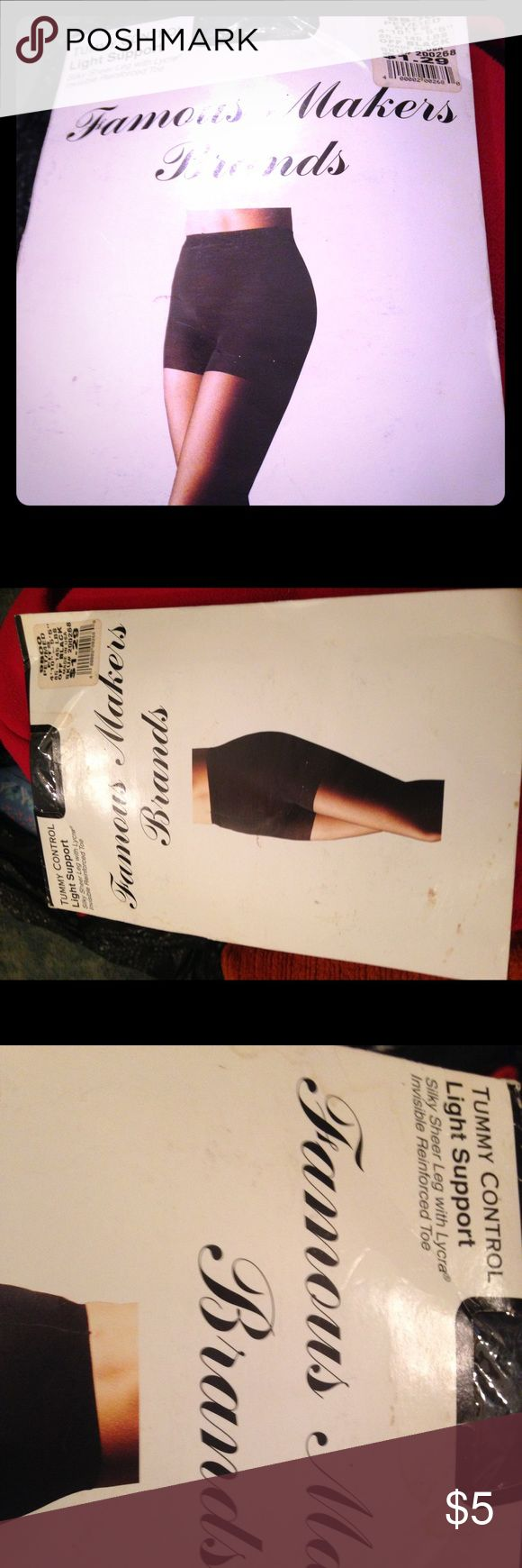 Tummy control sheet leg support stockings Tummy Control. Light support. Silky Sheer Leg with Lycra Invisible Reinforced Toe. Famous Makers Brand. Color: Off Black. Petite/ Medium fits 4'10-5'5 85-145 lbs. Dropping price on request. The lowest I can sell this for on here is $3, so I can NOT sell this at the original price of $1.29. Famous Makers Brand Accessories Hosiery & Socks