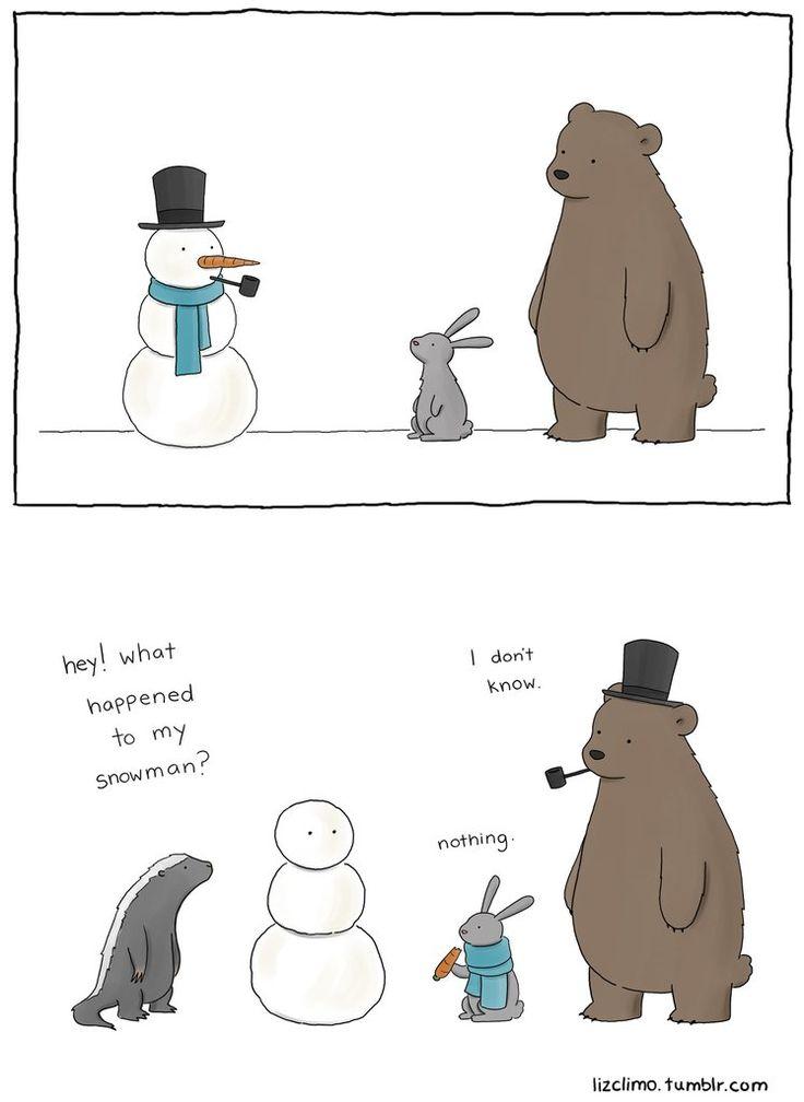 Liz Climo comics. Muñeco de nieve.