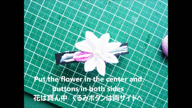 D.I.Y Make Tsumami Kanzashi つまみ細工-Covered buttons barrette