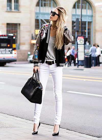 スタジャン×白スキニージーンズのカッコイイ オトナカジュアル系タイプのファッション スタイルのコーデ♡