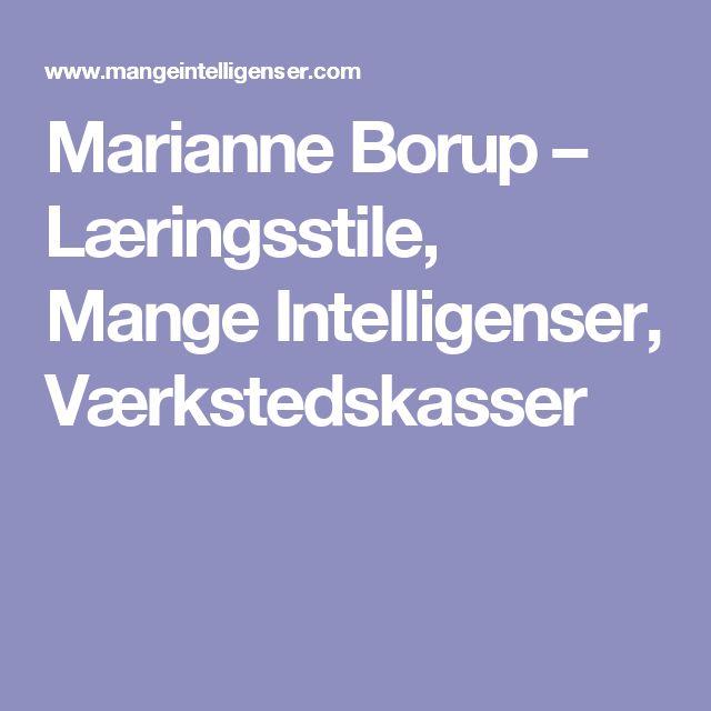 Marianne Borup – Læringsstile, Mange Intelligenser, Værkstedskasser