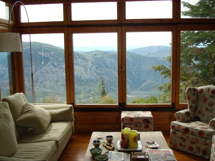 Arachova chalet with breathtaking views of Parnassos mountain.