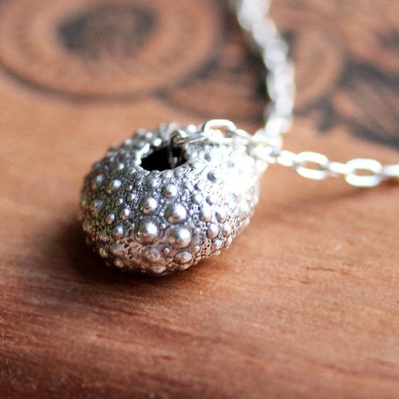 """Silver sea urchin necklace - beach jewelry - oxidized - metalwork - recycled sterling silver - 17"""" sterling chain"""