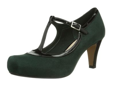 Channelling a vintage look, Chorus Thrill women's shoes fasten with a T-bar strap and mix dark green suede with a glossy leather trim