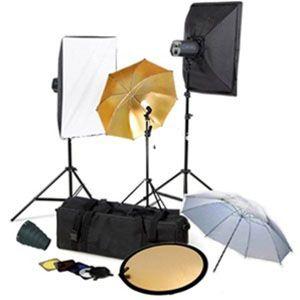 Pro Three Strobe Softbox Flash MonoLight Lighting kits with Barndoor, Reflector and Case