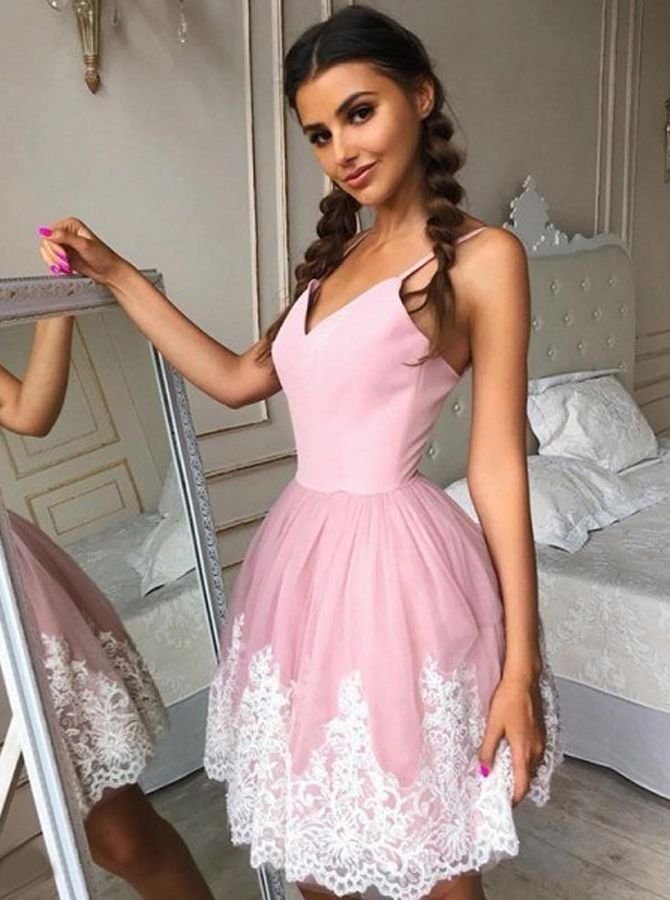 c4760f71df0 A-Line Spaghetti Straps Above-Knee Pink Homecoming Dress with ...