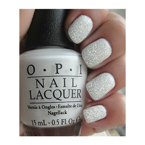 White Fairy Manicure~OPI Alpine Snow, OPI top coat Mini,Opi shimmer... ❤ liked on Polyvore featuring beauty products, nail care, nail polish, nails, opi, opi nail varnish, manicure nail polish, opi nail care and opi nail polish