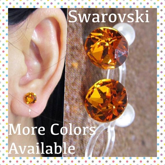 Invisible Clip on earring |C22s| Tangerine Swarovski Wedding Clip on, Hypoallergenic Non pierced earring, Magnetic Earring alternative