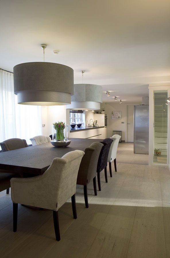 pale wooden floorboards | contemporary kitchen dining in soft muted neutrals || Keijser & Co
