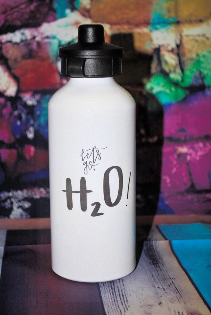 16 oz. white straw-top water bottle. Perfect for on the go ...