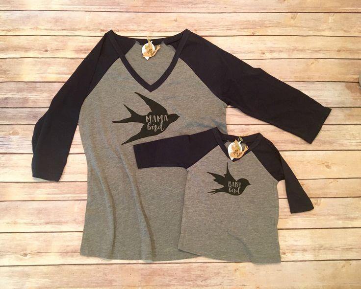 Mama Bird Shirt Set, Mommy and Me Shirts, Mommy and Me Outfits, Mom and Son Shirts, Mom and Daughter Shirts, Family Shirts, Baby Bird Shirt by BittyandBoho on Etsy https://www.etsy.com/listing/476018424/mama-bird-shirt-set-mommy-and-me-shirts