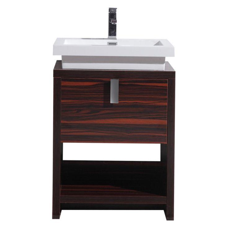 Morenobath Levi 24 in. Free Standing Single Sink Bathroom Vanity with Cubby Hole - L600GW