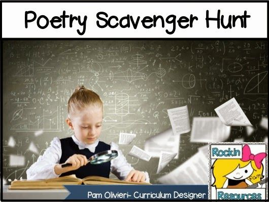 Free Idea:  Poetry Scavenger Hunt- FUN!!!!!  a blog post on Who's Who and Who's New! #rockinresources