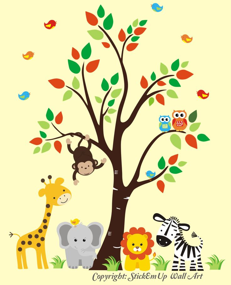 Nursery Wall Decal Jungle Wall Decal Tree Wall by StickEmUpWallArt, $145.00