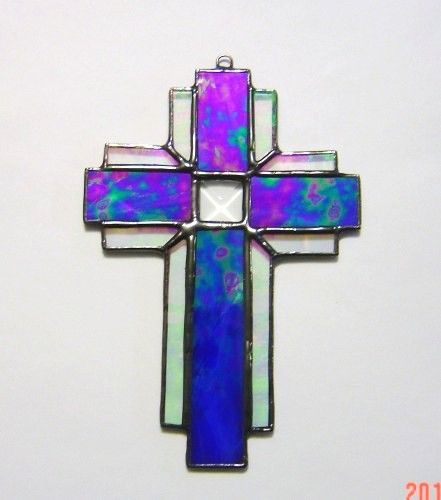 Irridescent Cobalt Blue Stained Glass Cross with cut glass bevel by GlassAct on art fire.